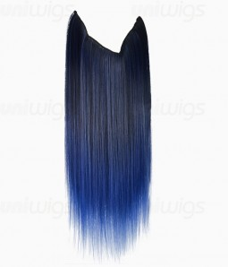 "20"" Ombre Blue Straight Heat Friendly Synthetic Flip & Clip In Hair Extension"