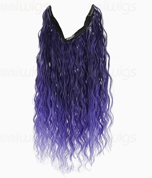 20 Ombre Purple Curly Heat Friendly Synthetic Flip Clip In Hair