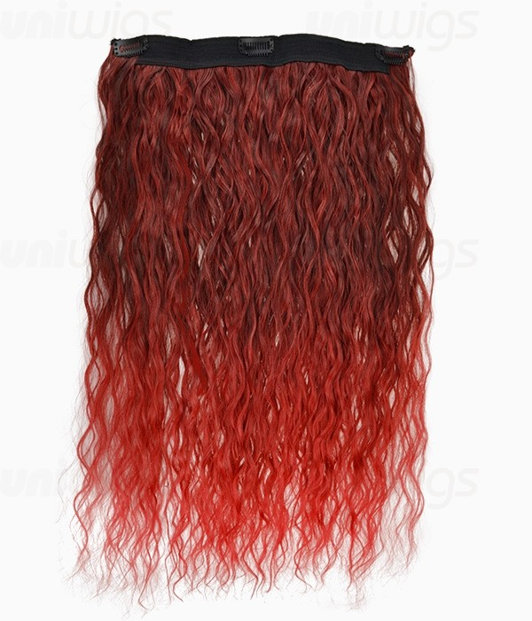 20 Ombre Red Curly Heat Friendly Synthetic Flip Clip In Hair