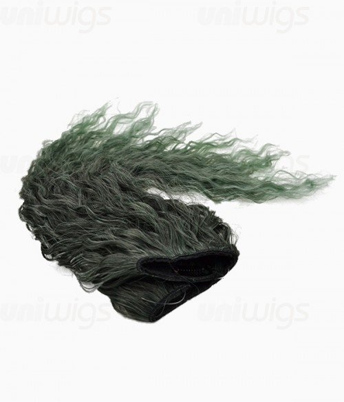 """20"""" Ombre Green Curly Heat Friendly Synthetic Flip & Clip In Hair Extension"""