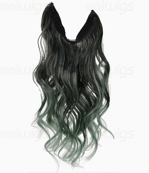 "20"" Ombre Green Wave Heat Friendly Synthetic Flip & Clip In Hair Extension"