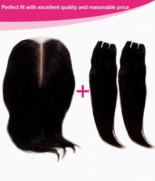 Lace Closure+2 pcs Hair Weft