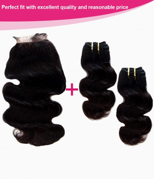 4×4 Natural Black Remy Human Hair Lace Closure+2 pcs Hair Weft LW002