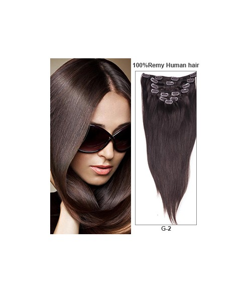 "16"" Dark Brown 9 Pieces Straight Clip In Indian Remy Human Hair Extension E916001STW-G-2"
