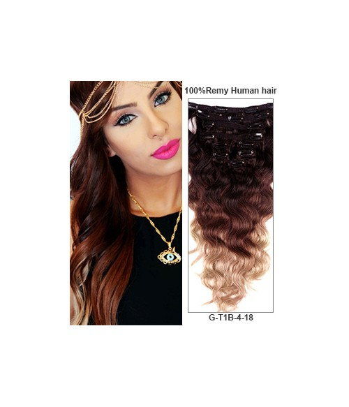 "20"" Triple Ombre Color 9 Pieces Body Wave Clip In Indian Remy Human Hair Extension E920001BW-G-T1B/4/18"