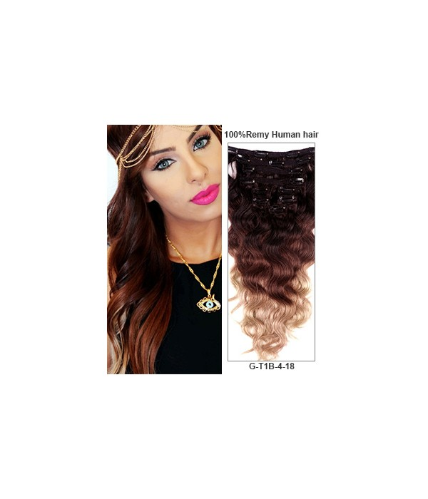 20 Triple Ombre Color 9 Pieces Body Wave Clip In Remy Human Hair