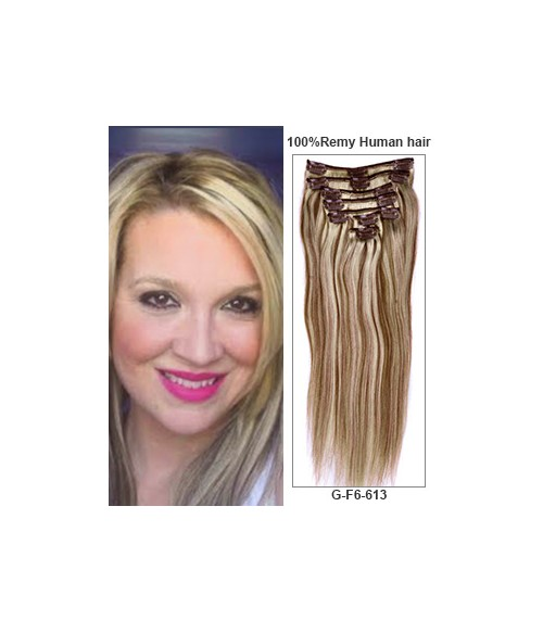 "16"" Piano Color 7 Pieces Straight Clip In Indian Remy Human Hair Extension E716002STW-G-F6/613"