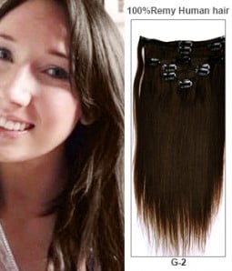 "20"" Dark Brown 7 Pieces Straight Clip In Indian Remy Human Hair Extension E720001STW-G-2"