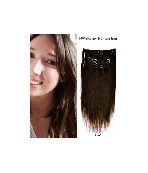 """20"""" Dark Brown 7 Pieces Straight Clip In Indian Remy Human Hair Extension E720001STW-G-2"""