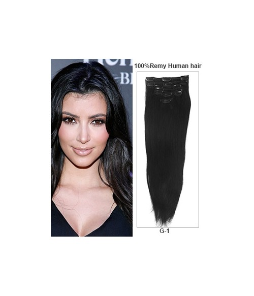 "24"" Jet Black 7 Pieces Straight Clip In Indian Remy Human Hair Extension E724001STW-G-1"