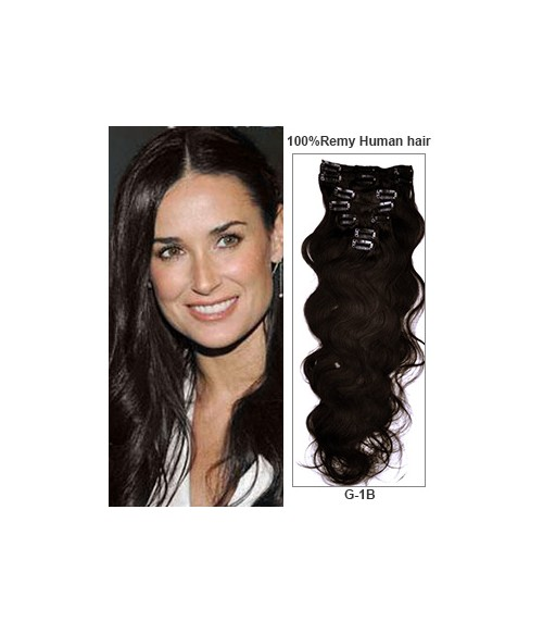 "18"" Off Black 7 Pieces Body Wave Clip In Indian Remy Human Hair Extension E718001BW-G-1B"