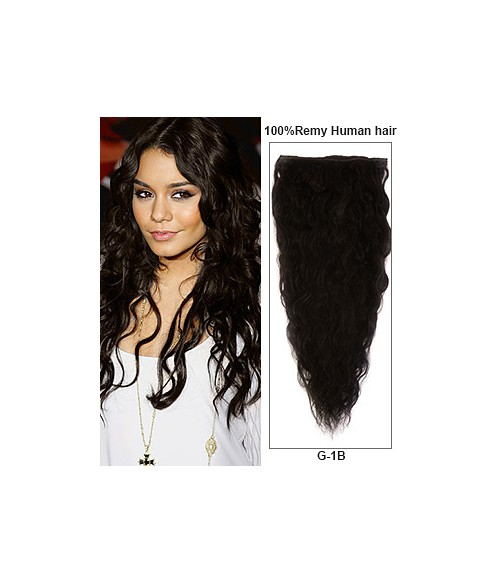 """18"""" Off Black 7 Pieces French Wave Clip In Indian Remy Human Hair Extension E718001FW-G-1B"""