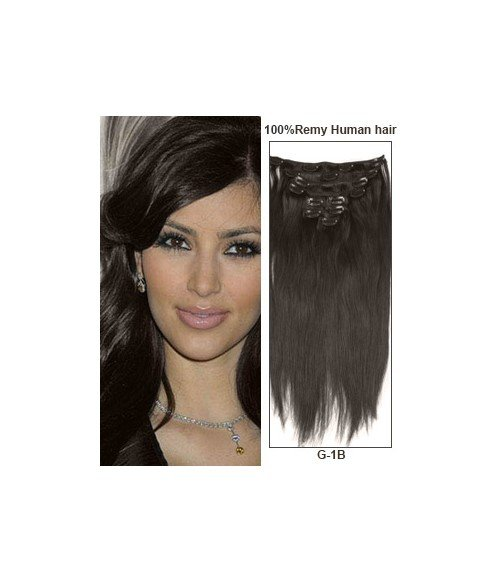 "16"" Off Black 9 Pieces Straight Clip In Indian Remy Human Hair Extension E916001STW-G-1B"