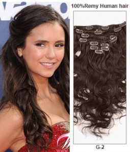 "22"" Dark Brown 9 Pieces Body Wave Clip In Indian Remy Human Hair Extension E922001BW-G-2"