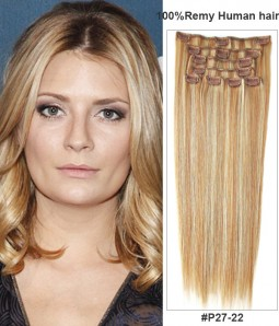 "8 Pieces 20"" Clip In Piano Color Virgin Remy Human Hair Set Extension"