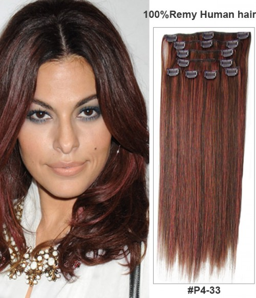 "18"" Virgin Remy Human Hair Piano Color 8 Pieces Set Clip In Extension"