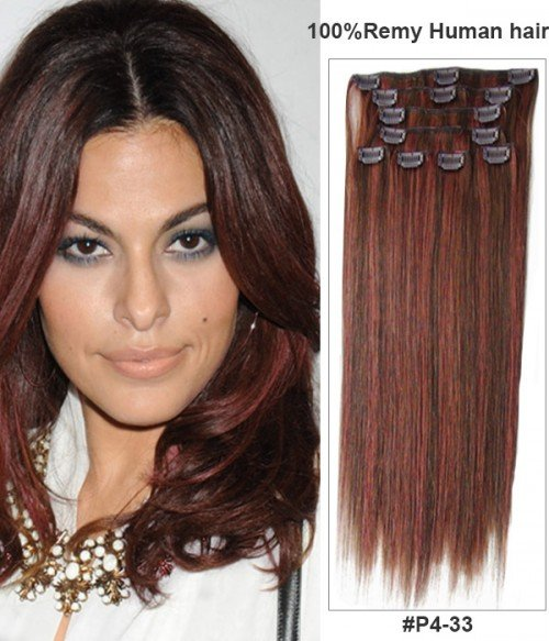 "14"" Virgin Remy Human Hair Piano Color 8 Pieces Set Clip In Extension"