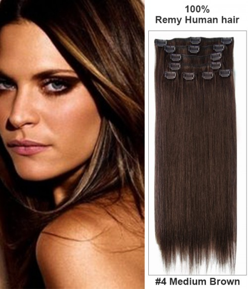 "14"" Virgin Remy Human Hair 8 Pieces Set Clip In Extension"