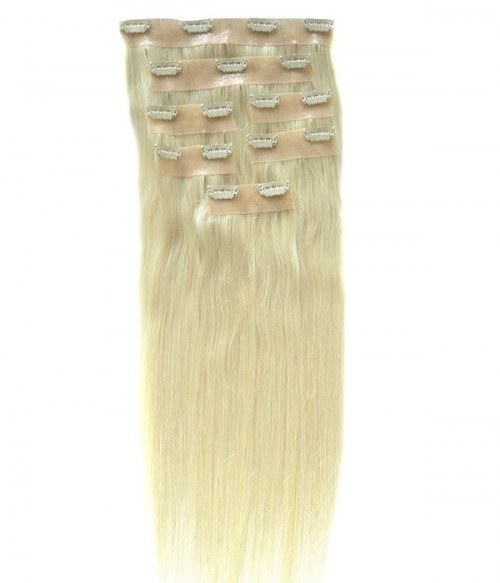 "22"" White Blonde 7 Pieces Straight Clip In Seamless PU Hair Extension E722003STW-G-613"