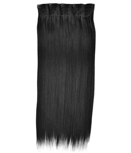 "20"" Straight Jet Black Clip in Synthetic Hair Extension"