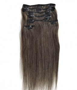 "14"" Grey 7 Pieces Straight Clip In Indian Remy Human Hair Extension E714001STW-G-1B60"