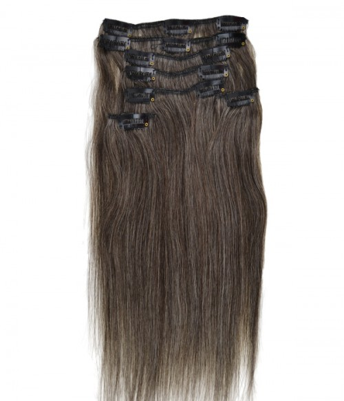 """16"""" Grey 7 Pieces Straight Clip In Remy Human Hair Extension E716001STW-G-1B60"""