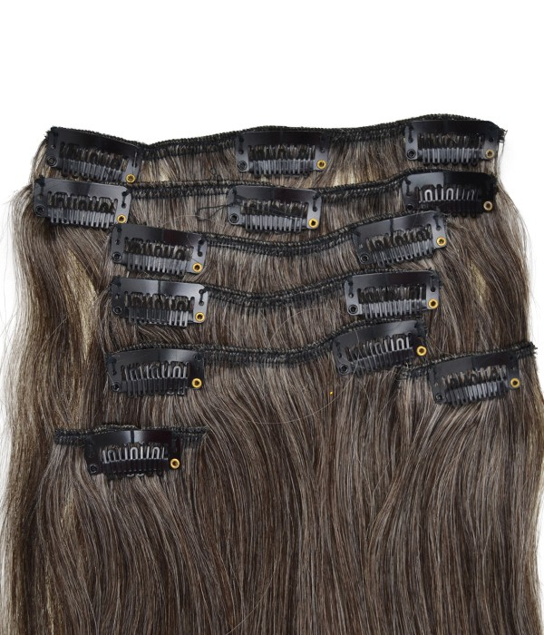 Gray 7 Pieces Clip In Remy Human Hair Extension Uniwigs Official