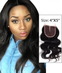 """8-20"""" 4""""x5"""" Body Wave Free Part/Middle Part/Three Part Brazilian Remy Human Hair Lace  Closure"""