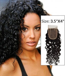 "8-20"" Curly Free Part/Middle Part /Three Part Brazilian Remy Human Hair Lace Closure"