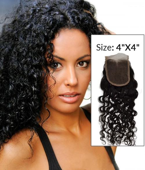 "8-20"" 4""x4"" Curly Free Part/Middle Part Brazilian Remy Human Hair Lace Closure"