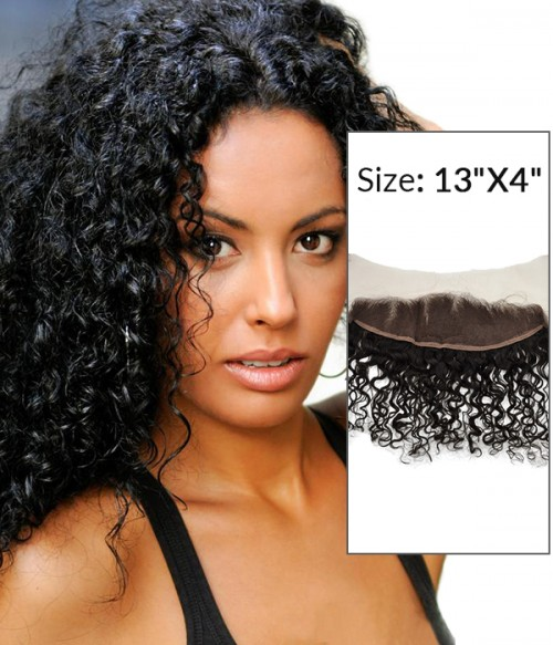 """8-20""""  13""""x4"""" Curly Free Part/Middle Part/Three Part Brazilian Remy Human Hair Lace Frontal"""