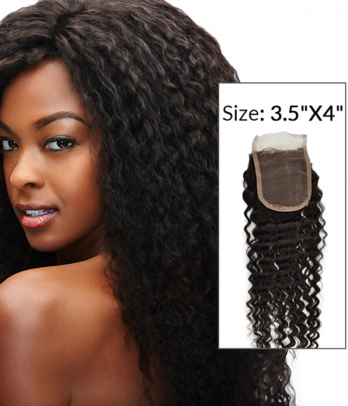"8-20"" 3.5""x4"" Deep Curly Free Part/Middle Part Brazilian Remy Human Hair Lace Closure"