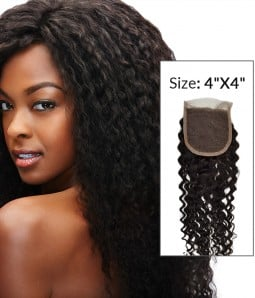 """8-20"""" 4""""x4"""" Deep Curly Free Part/Middle Part Brazilian Remy Human Hair Lace Closure"""