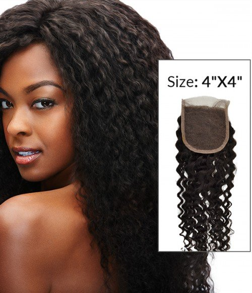 "8-20"" 4""x4"" Deep Curly Free Part/Middle Part Brazilian Remy Human Hair Lace Closure"