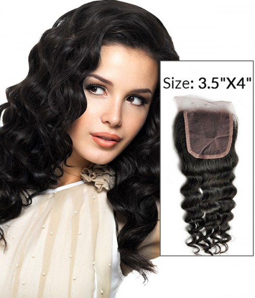 "8-20"" 3.5""x4"" Deep Wave Free Part/Middle Part Brazilian Remy Human Hair Lace Closure"