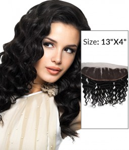 """8-20"""" 13""""x4"""" Deep Wave Free Part/Middle Part/Three Part Brazilian Remy Human Hair Lace Frontal"""
