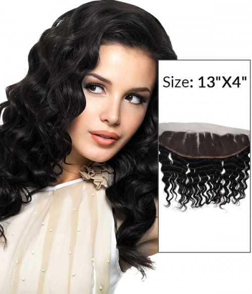 "8-20"" 13""x4"" Deep Wave Free Part/Middle Part/Three Part Brazilian Remy Human Hair Lace Frontal"