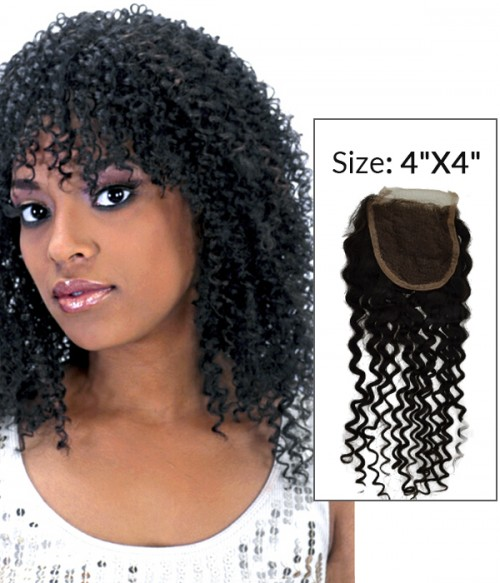 "8-20"" 4""x4"" Jerry Curly Free Part/Middle Part Brazilian Remy Human Hair Lace Closure"