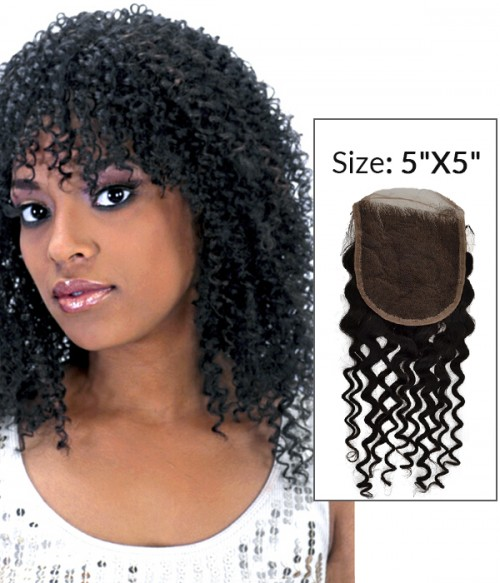 """8-20"""" 5""""x5"""" Jerry Curly Free Part/Middle Part/Three Part Brazilian Remy Human Hair Lace Closure"""