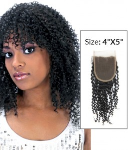 """4""""x5"""" Jerry Curly 8-20"""" Free Part/Middle Part/Three Part Remy Human Hair Top Closure"""