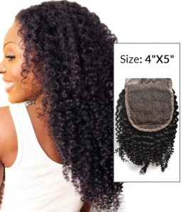 """4""""x5"""" Kinky Curly 8-20"""" Free Part/Middle Part/Three Part Remy Human Hair Top Closure"""