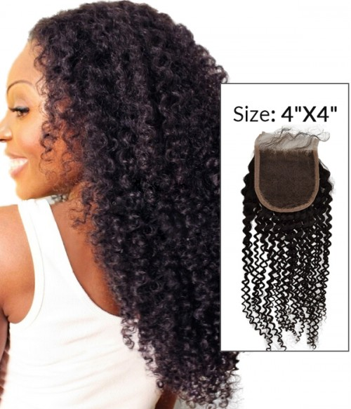 """8-20"""" 4""""x4"""" Kinky Curly Free Part/Middle Part Brazilian Remy Human Hair Lace Closure"""