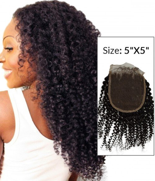 """8-20"""" 5""""x5"""" Kinky Curly Free Part/Middle Part/Three Part Brazilian Remy Human Hair Lace Closure"""