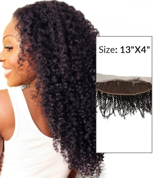 "8-20"" 13""x4"" Kinky Curly Free Part/Middle Part/Three Part Brazilian Remy Human Hair Lace Frontal"