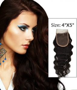 """4""""x5"""" Loose Curly 8-20"""" Free Part/Middle Part/Three Part Remy Human Hair Top Closure"""