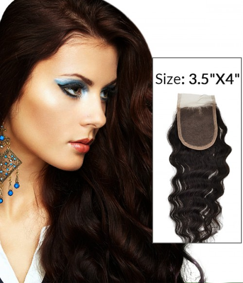 """8-20"""" 3.5""""x4"""" Loose Curly Free Part/Middle Part Brazilian Remy Human Hair Lace Closure"""