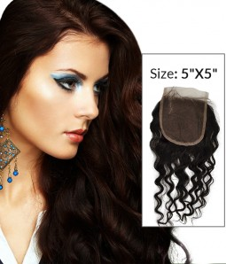 "8-24"" 5""x5"" Loose Curly Free Part/Middle Part/Three Part Brazilian Remy Human Hair Lace Closure"