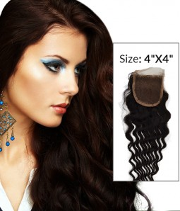 """8-20"""" 4""""x4"""" Loose Curly Free Part/Middle Part Brazilian Remy Human Hair Lace Closure"""