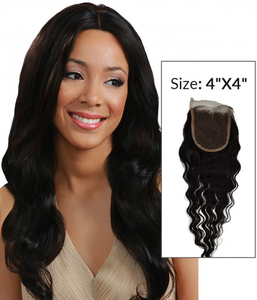 """8-20"""" 4""""x4"""" Loose Wave Free Part/Middle Part Brazilian Remy Human Hair Lace Closure"""