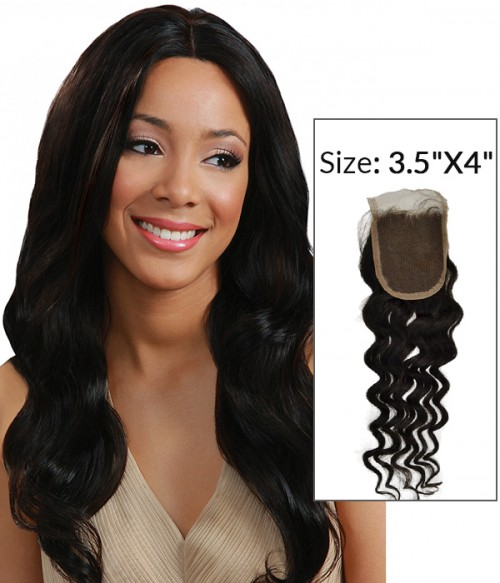 "8-20"" 3.5""x4"" Loose Wave Free Part/Middle Part Brazilian Remy Human Hair Lace Closure"